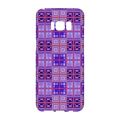 Mod Purple Pink Orange Squares Pattern Samsung Galaxy S8 Hardshell Case