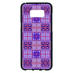 Mod Purple Pink Orange Squares Pattern Samsung Galaxy S8 Plus Black Seamless Case