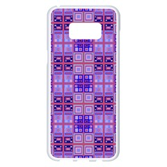 Mod Purple Pink Orange Squares Pattern Samsung Galaxy S8 Plus White Seamless Case