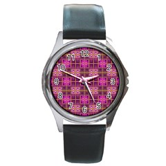 Mod Pink Purple Yellow Square Pattern Round Metal Watch