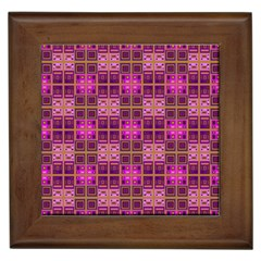 Mod Pink Purple Yellow Square Pattern Framed Tiles