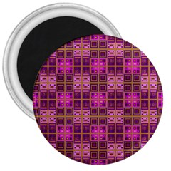 Mod Pink Purple Yellow Square Pattern 3  Magnets