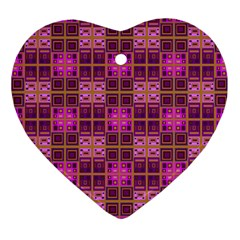 Mod Pink Purple Yellow Square Pattern Ornament (heart)