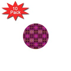 Mod Pink Purple Yellow Square Pattern 1  Mini Buttons (10 Pack)