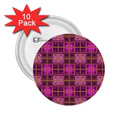 Mod Pink Purple Yellow Square Pattern 2 25  Buttons (10 Pack)