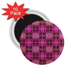 Mod Pink Purple Yellow Square Pattern 2 25  Magnets (10 Pack)