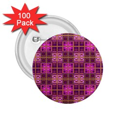 Mod Pink Purple Yellow Square Pattern 2 25  Buttons (100 Pack)