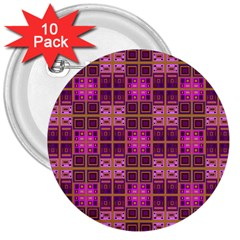 Mod Pink Purple Yellow Square Pattern 3  Buttons (10 Pack)