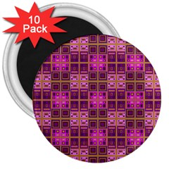 Mod Pink Purple Yellow Square Pattern 3  Magnets (10 Pack)