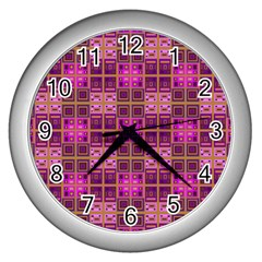 Mod Pink Purple Yellow Square Pattern Wall Clock (silver)