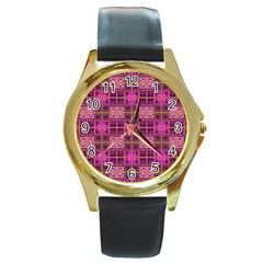Mod Pink Purple Yellow Square Pattern Round Gold Metal Watch