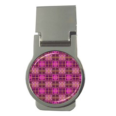 Mod Pink Purple Yellow Square Pattern Money Clips (round)  by BrightVibesDesign