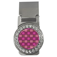 Mod Pink Purple Yellow Square Pattern Money Clips (cz)