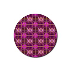 Mod Pink Purple Yellow Square Pattern Rubber Round Coaster (4 Pack)
