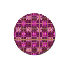 Mod Pink Purple Yellow Square Pattern Magnet 3  (round)