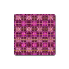 Mod Pink Purple Yellow Square Pattern Square Magnet