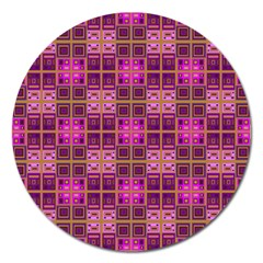 Mod Pink Purple Yellow Square Pattern Magnet 5  (round)