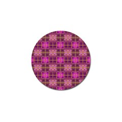 Mod Pink Purple Yellow Square Pattern Golf Ball Marker (4 Pack)
