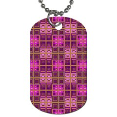 Mod Pink Purple Yellow Square Pattern Dog Tag (two Sides)