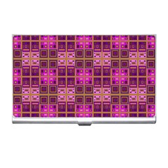 Mod Pink Purple Yellow Square Pattern Business Card Holder