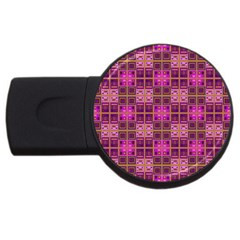 Mod Pink Purple Yellow Square Pattern Usb Flash Drive Round (2 Gb)