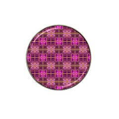 Mod Pink Purple Yellow Square Pattern Hat Clip Ball Marker (10 Pack)