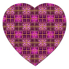 Mod Pink Purple Yellow Square Pattern Jigsaw Puzzle (heart)