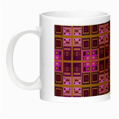 Mod Pink Purple Yellow Square Pattern Night Luminous Mugs