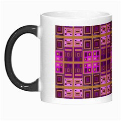 Mod Pink Purple Yellow Square Pattern Morph Mugs
