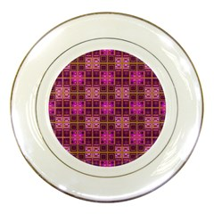 Mod Pink Purple Yellow Square Pattern Porcelain Plates