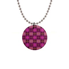 Mod Pink Purple Yellow Square Pattern Button Necklaces