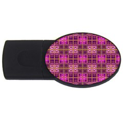 Mod Pink Purple Yellow Square Pattern Usb Flash Drive Oval (4 Gb)