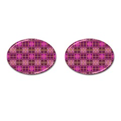 Mod Pink Purple Yellow Square Pattern Cufflinks (oval)