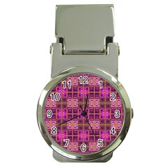 Mod Pink Purple Yellow Square Pattern Money Clip Watches