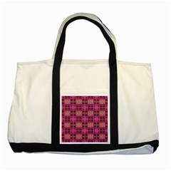 Mod Pink Purple Yellow Square Pattern Two Tone Tote Bag