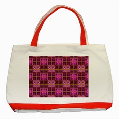 Mod Pink Purple Yellow Square Pattern Classic Tote Bag (red)