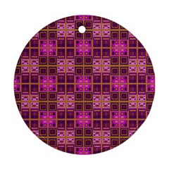 Mod Pink Purple Yellow Square Pattern Round Ornament (two Sides)