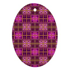 Mod Pink Purple Yellow Square Pattern Oval Ornament (two Sides)
