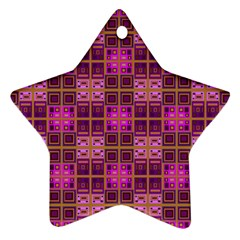 Mod Pink Purple Yellow Square Pattern Star Ornament (two Sides)