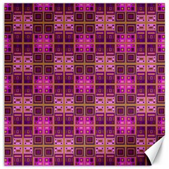 Mod Pink Purple Yellow Square Pattern Canvas 12  X 12