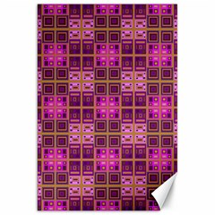 Mod Pink Purple Yellow Square Pattern Canvas 20  X 30