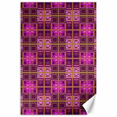 Mod Pink Purple Yellow Square Pattern Canvas 24  X 36