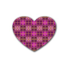 Mod Pink Purple Yellow Square Pattern Rubber Coaster (heart)