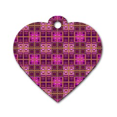 Mod Pink Purple Yellow Square Pattern Dog Tag Heart (two Sides)