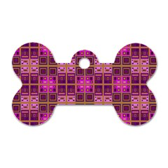 Mod Pink Purple Yellow Square Pattern Dog Tag Bone (two Sides)