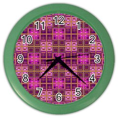 Mod Pink Purple Yellow Square Pattern Color Wall Clock