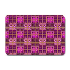 Mod Pink Purple Yellow Square Pattern Small Doormat