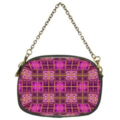 Mod Pink Purple Yellow Square Pattern Chain Purse (one Side)