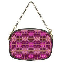 Mod Pink Purple Yellow Square Pattern Chain Purse (two Sides) by BrightVibesDesign
