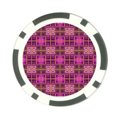 Mod Pink Purple Yellow Square Pattern Poker Chip Card Guard (10 Pack)